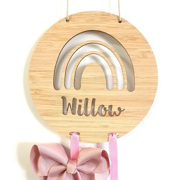 Rainbow Personalised Bow Hair Clip Holder